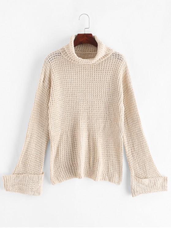 women Turtleneck Textured Cuffed Sleeve Boyfriend Sweater - WARM WHITE M