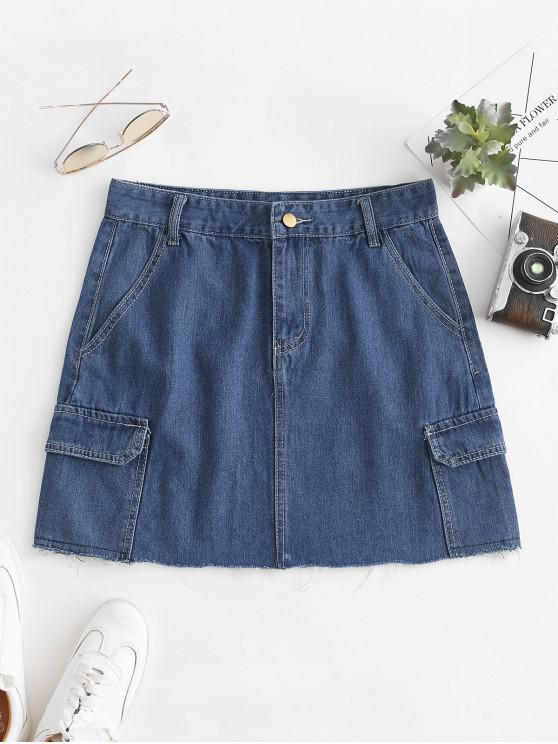 women's Frayed Hem A Line Denim Skirt - DENIM DARK BLUE L