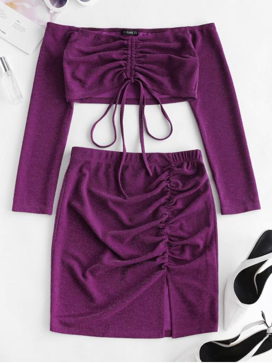 ladies ZAFUL Glitter Cinched Crop Top And Slit Skirt Set - PLUM M