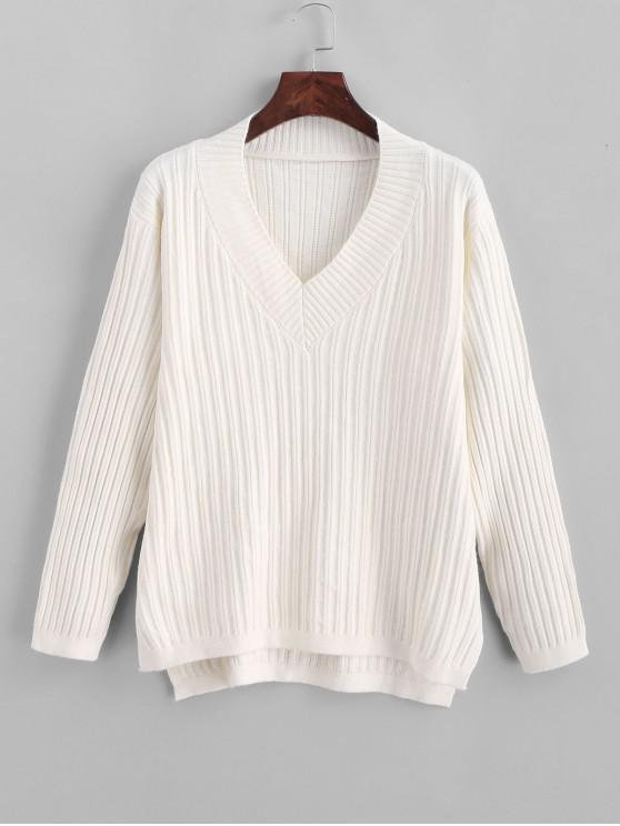 chic Knitted High Low Slit V Neck Sweater - MILK WHITE ONE SIZE