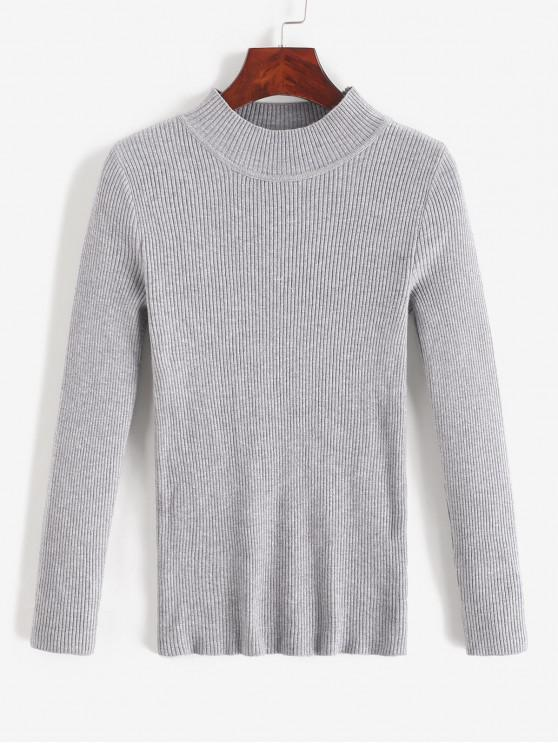 women's Mock Neck Ribbed Slim Knitted Sweater - GRAY CLOUD ONE SIZE