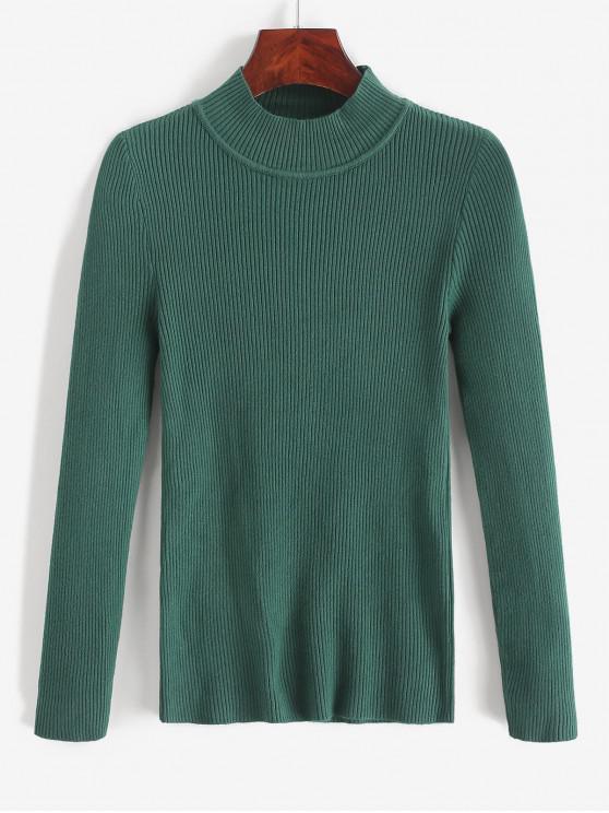 Suéter de punto delgado acanalado con cuello simulado - Verde Oscuro Talla única