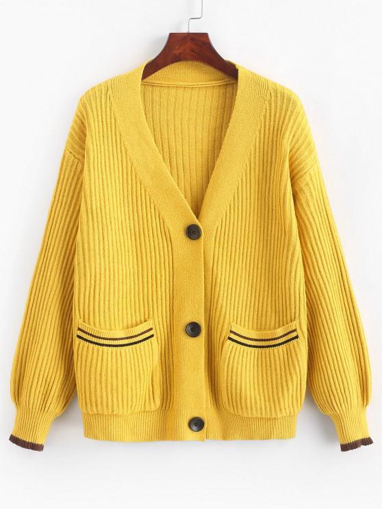 Einreihige Strickjacke mit tief angesetzter Tasche - Sonne Gelb Eine Größe