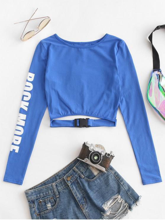 best Push Buckle Rock More Graphic Cut Out Tee - BLUE M
