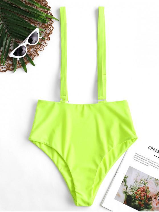 Braguitas de bikini de tirantes de cintura alta con corte alto de neón de ZAFUL - Verde Amarillo S