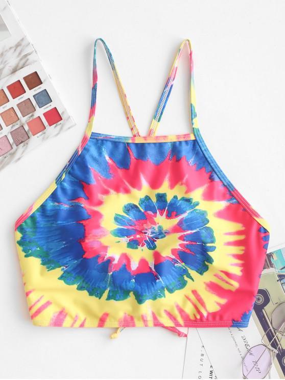 outfits ZAFUL Spiral Tie Dye Print Criss Cross Bikini Top - MULTI-A L