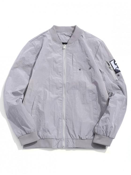womens Solid Color Character Print Applique Zipper Pocket Jacket - GRAY GOOSE XS