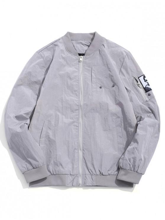 shop Solid Color Character Print Applique Zipper Pocket Jacket - GRAY GOOSE S