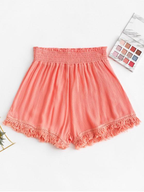 chic Smocked Tasseled Hem High Waisted Shorts - PINK S