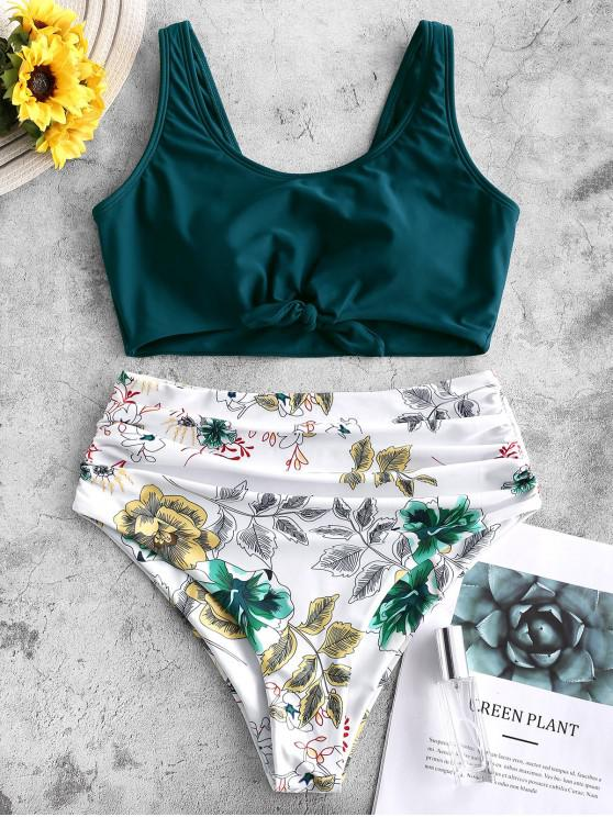 buy ZAFUL Knot Ruched Plant Print Tankini Swimsuit - PEACOCK BLUE S