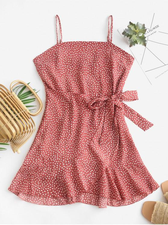 trendy Overlap Ruffles Raindrop Print Cami Dress - LIGHT CORAL S