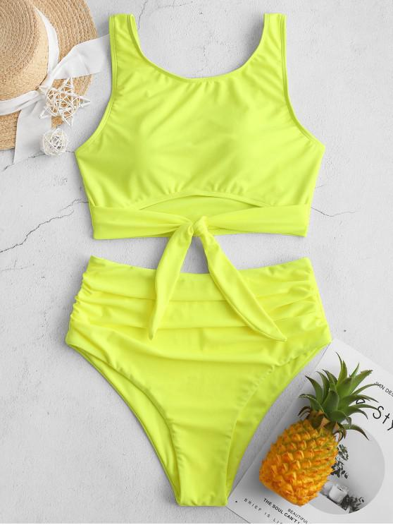 affordable ZAFUL Knotted Hem Ruched Tankini Swimsuit - GREEN YELLOW M