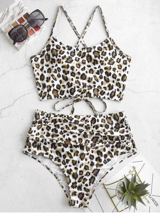 lady ZAFUL Leopard Lace-up Ruched Tankini Swimsuit - MULTI-A L