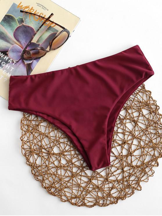 Braguitas de bikini de tiro medio lisas ZAFUL - Vino Tinto L