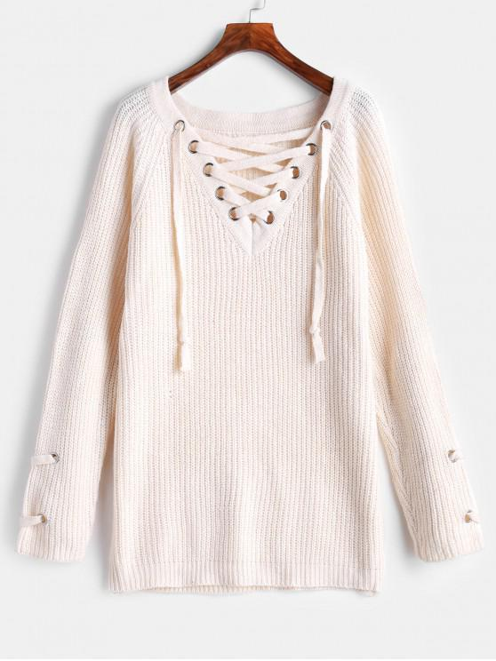 latest Lace Up Chunky Knit V Neck Sweater - BEIGE ONE SIZE