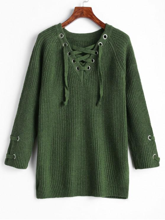chic Lace Up Chunky Knit V Neck Sweater - GREEN ONE SIZE