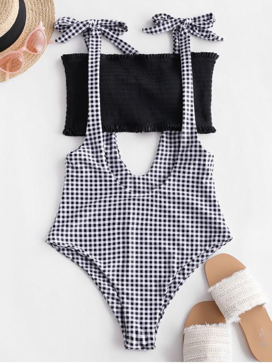 women ZAFUL Smocked Bandeau Gingham Suspender Bikini Swimsuit - BLACK L