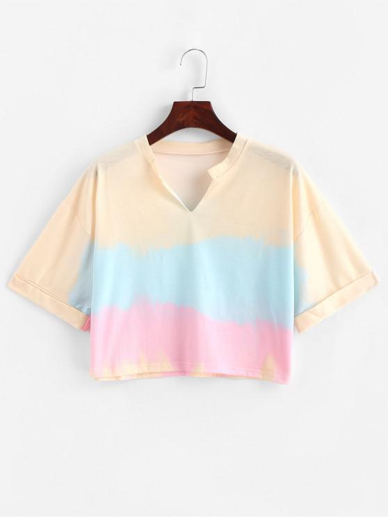 Camiseta corta con efecto tie dye y escote en V - Multicolor-A L