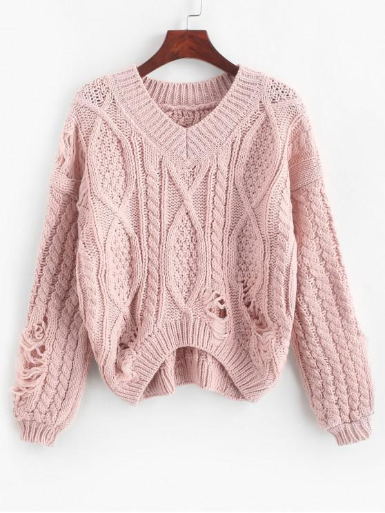 women's Ripped Chunky Cable Knit Drop Shoulder Sweater - ROSE ONE SIZE