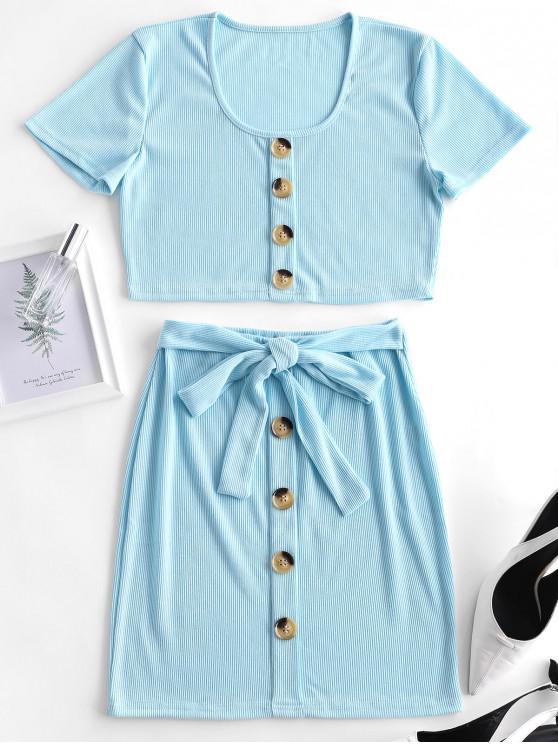 trendy Ribbed Button Embellished Belted Skirt Set - JEANS BLUE L
