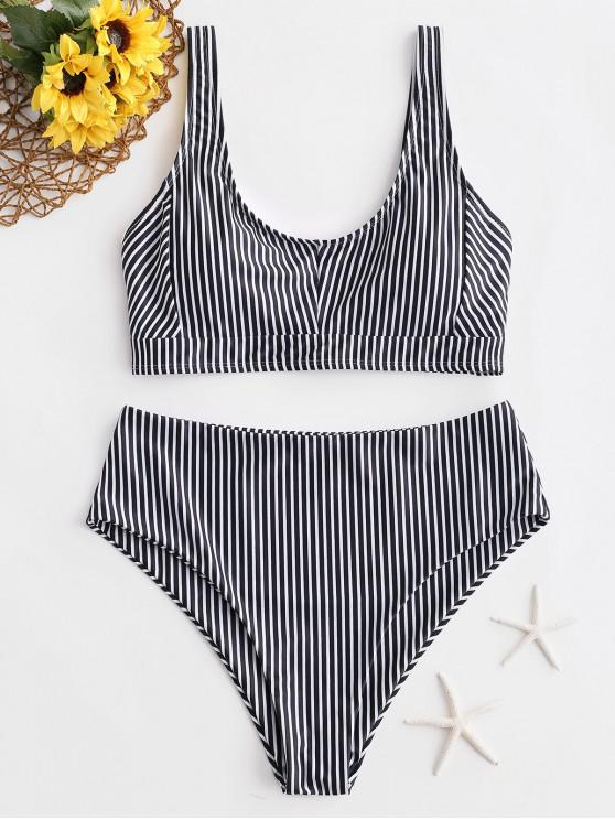 lady ZAFUL Striped Sporty High Waisted Bikini Swimsuit - BLACK M
