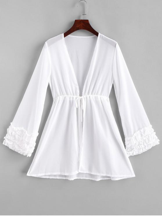 fashion Frilled Waist Drawstring Semi Sheer Chiffon Cover-up - WHITE L