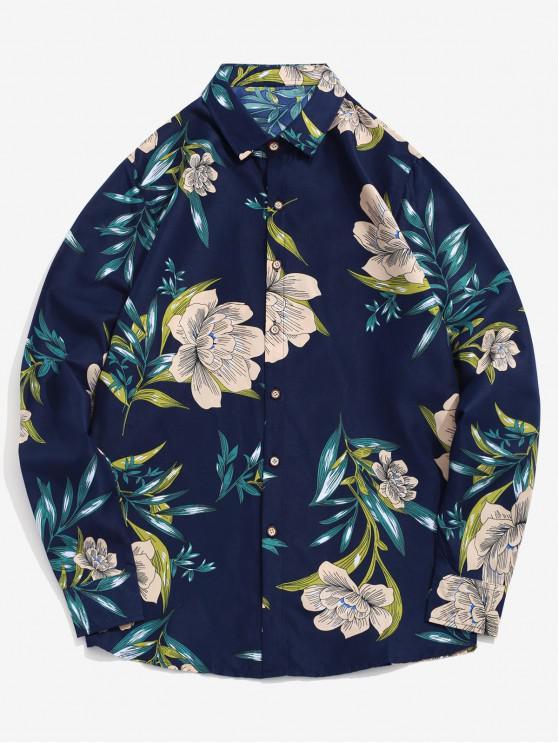 fancy Flower Leaf Print Long Sleeve Beach Vacation Shirt - DEEP BLUE XL