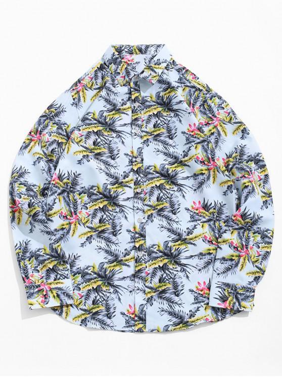 shop Floral Plant Print Long Sleeve Vacation Shirt - PASTEL BLUE XL