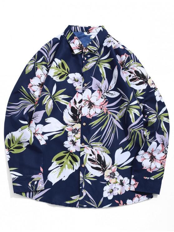 fashion Tropical Flower Leaf Print Beach Vacation Shirt - MULTI-C XL