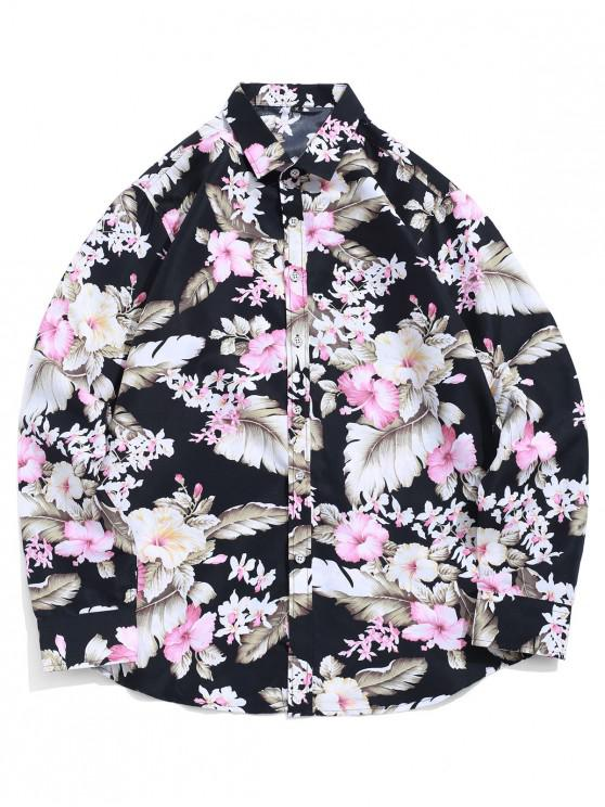 chic Flower Leaf Print Button Up Vacation Shirt - BLACK L