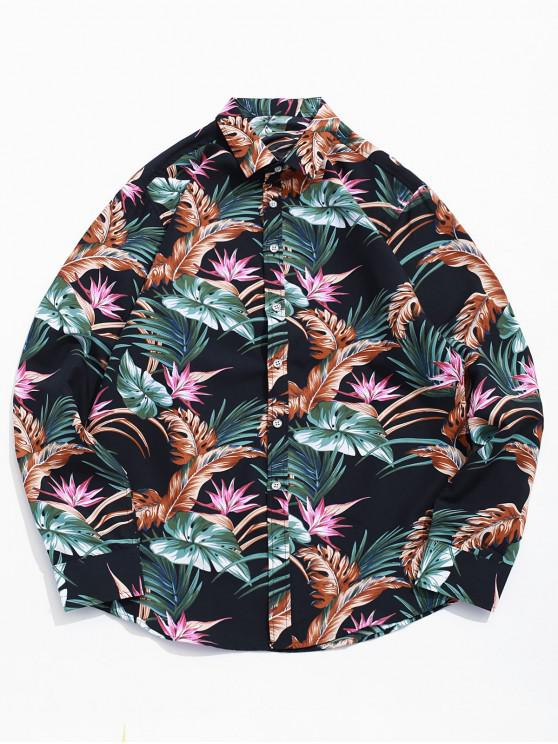 women Tropical Plant Flower Print Curved Hem Vacation Shirt - BLACK M