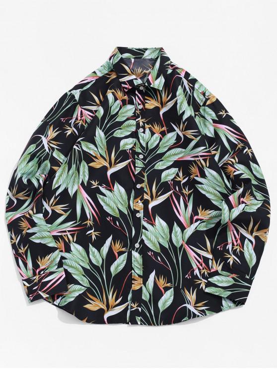 ladies Long Sleeve Button Plant Leaf Print Beach Vacation Shirt - BLACK L