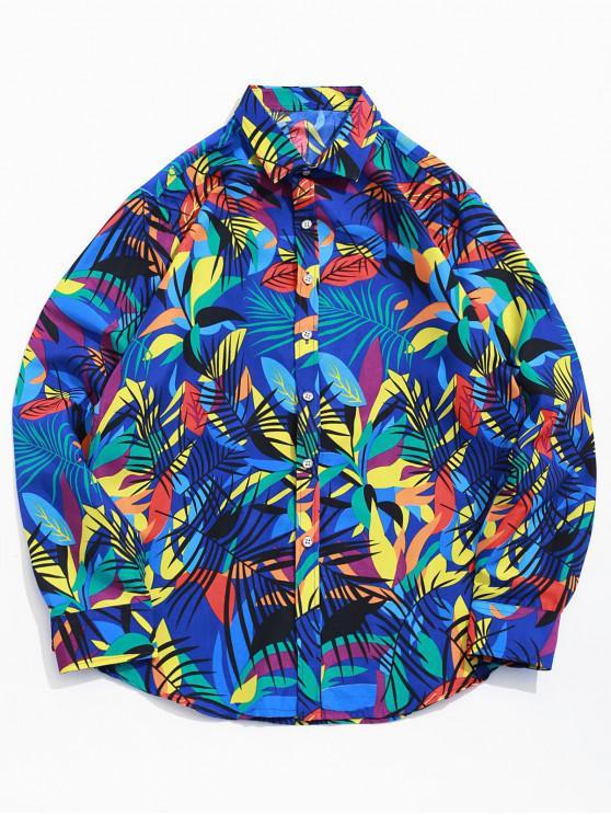 chic Colored Tropical Leaf Print Button Beach Vacation Shirt - BLUE M