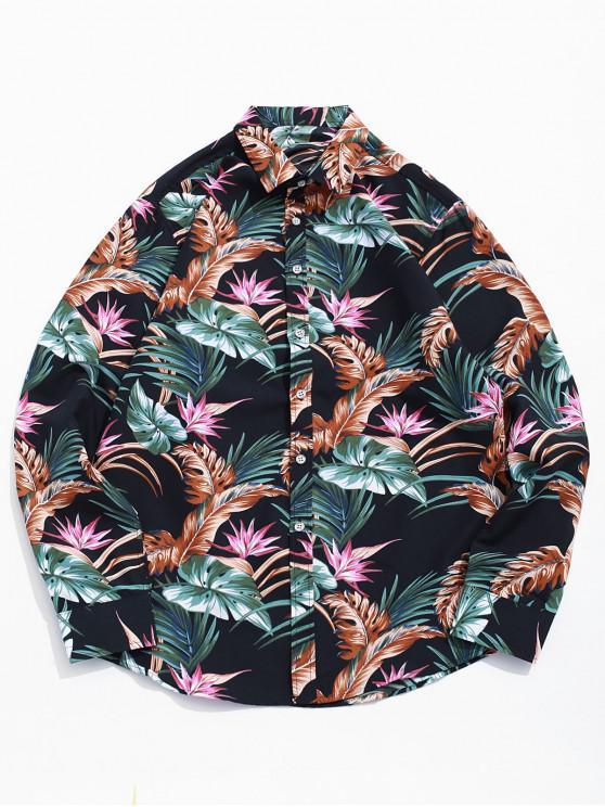 womens Tropical Plant Flower Print Curved Hem Vacation Shirt - BLACK L