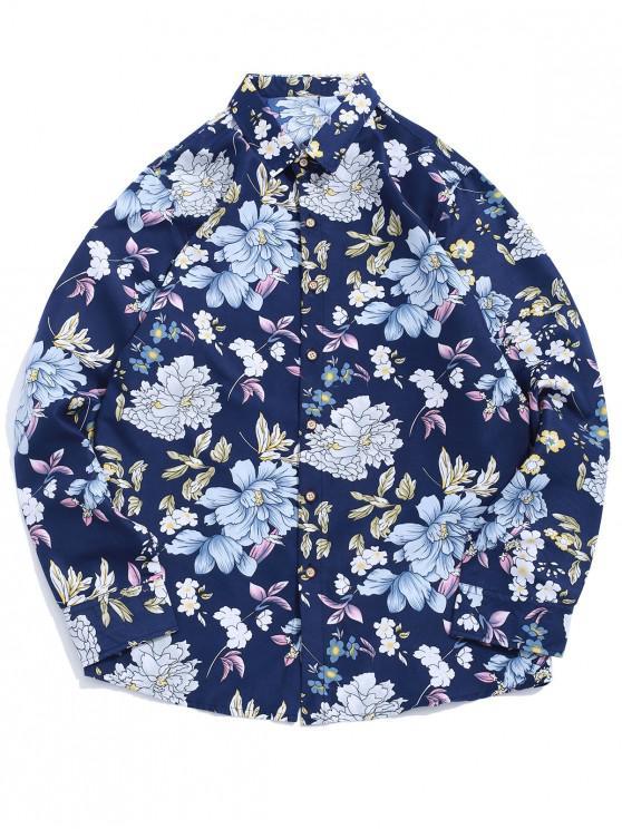 women Allover Flower Print Long Sleeve Beach Vacation Shirt - MULTI-B XL