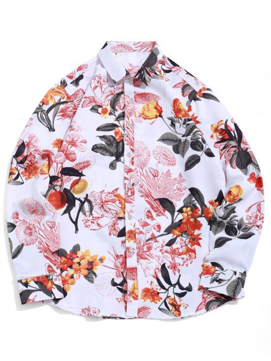 trendy Flower Allover Print Long Sleeve Beach Vacation Shirt - WHITE L