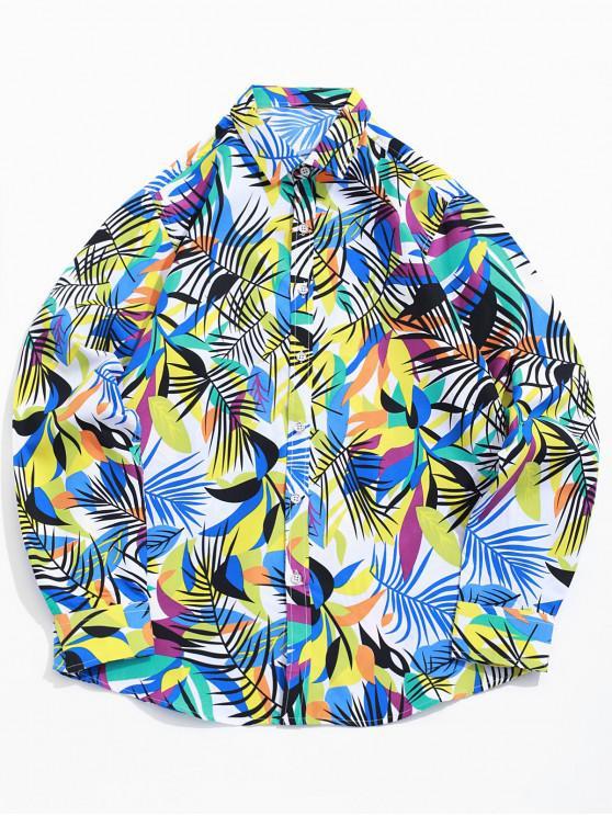 Coloreada de la hoja tropical de la impresión del botón camisa de la playa de vacaciones - Blanco 3XL