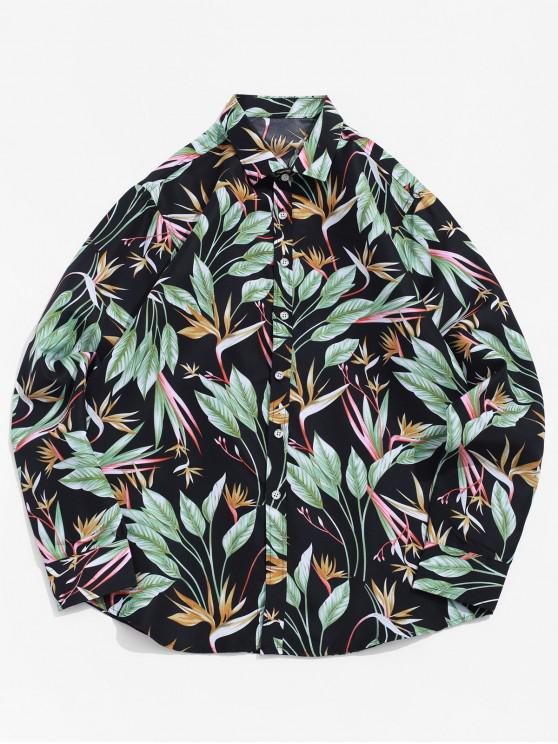 outfits Long Sleeve Button Plant Leaf Print Beach Vacation Shirt - BLACK 3XL