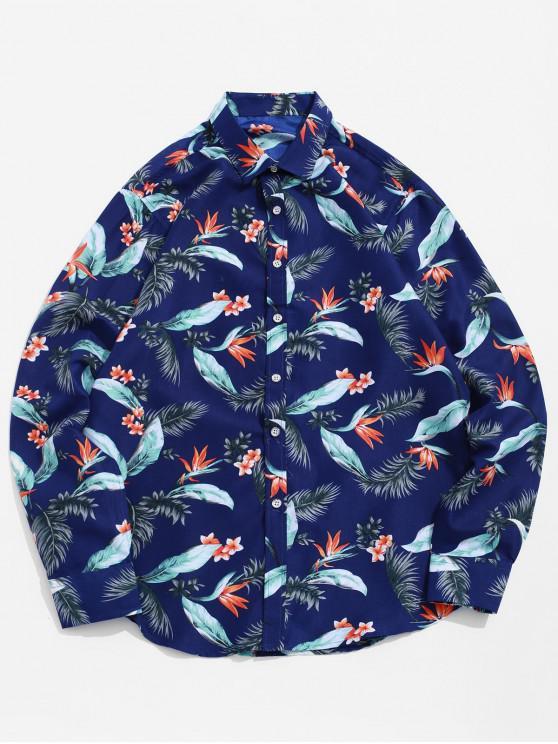 hot Floral Leaf Print Long Sleeve Beach Vacation Shirt - MULTI-A XL