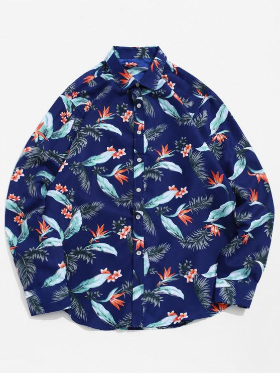 ladies Floral Leaf Print Long Sleeve Beach Vacation Shirt - MULTI-A 3XL