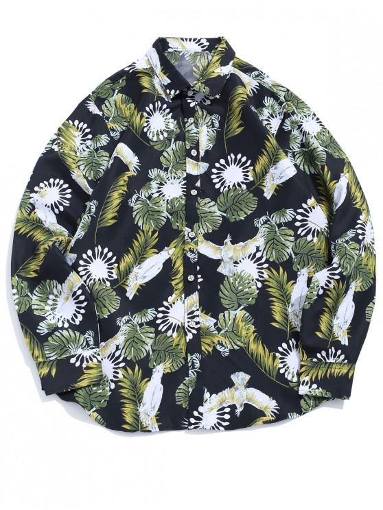 latest Flower Plant Parrot Tropical Print Long Sleeve Casual Vacation Shirt - BLACK S