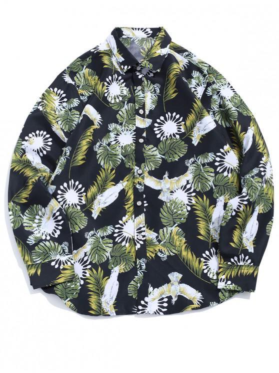 Flor de la planta del loro tropical de la impresión de manga larga ocasional de la camisa de vacaciones - Negro XS
