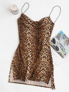 Snakeskin Leopard Print Slits Flared Cami Dress - Multi L