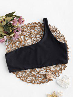 ZAFUL Solid No-padding One Shoulder Bikini Top - Black S