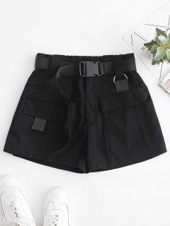 Shorts De Anillo Solapa Con Bolsillos Con Cintura Alta - Negro S