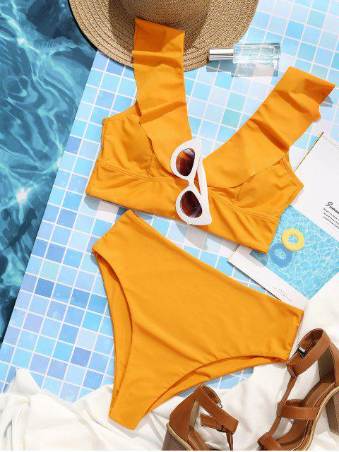 sale ZAFUL Lace Up Flounce Plunge High Rise Tankini Swimsuit - BEE YELLOW XL Mobile