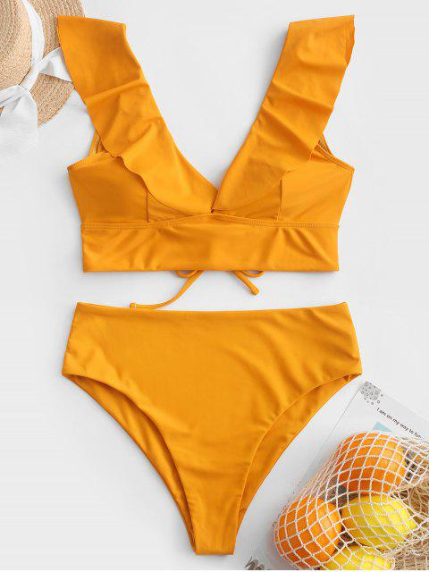 latest ZAFUL Lace Up Flounce Plunge High Rise Tankini Swimsuit - BEE YELLOW L Mobile