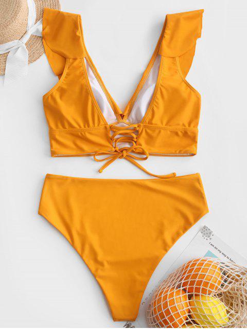 ZAFUL Lace Up Flounce Plunge High Rise Tankini traje de baño - Amarilla de Abeja  S Mobile