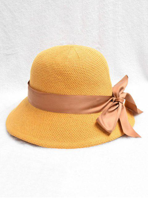 latest Bowknot Design Knitted Bucket Hat - MUSTARD  Mobile