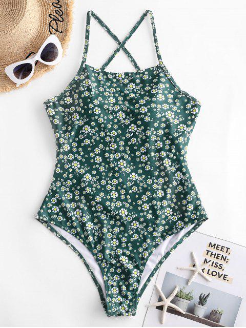 chic ZAFUL Lace-up Daisy Print One-piece Swimsuit - MEDIUM SEA GREEN L Mobile